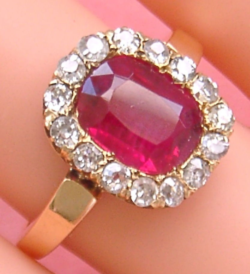 ANTIQUE VICTORIAN .80ctw DIAMOND 2.25ct RUBY PINK 18K GOLD RING c1880