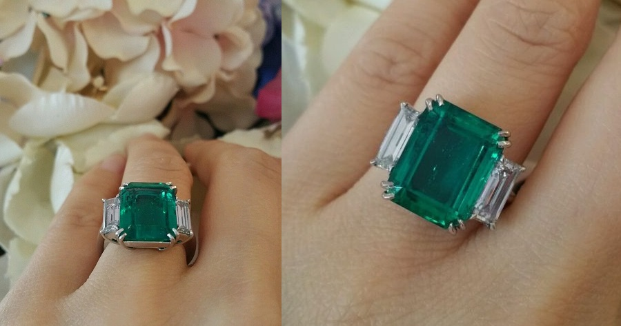 GIA 7.39 ct Colombian Emerald Three-stone Diamonds Ring in Platinum