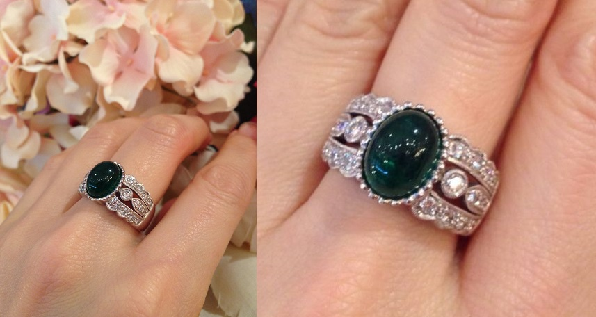 Estate 2.50 ct Emerald Cabochon & Diamond Ring in 18k White Gold