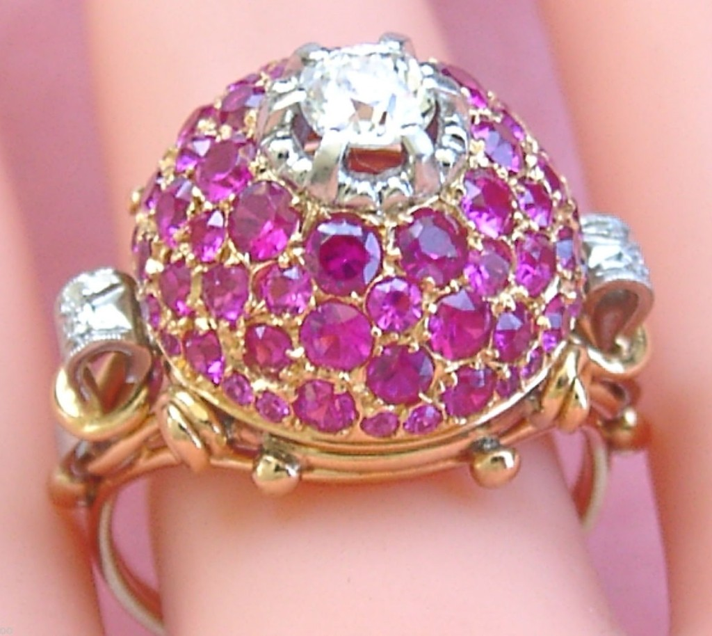 Gorgeous Antique Retro 0.50 Old Mine Diamond 3.5 ctw Pink Ruby 18K Dome Ring Circa 1940