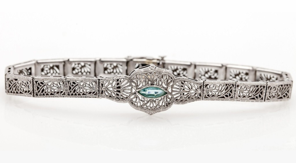 Antique 1920s Aquamarine 10k White Gold Filigree Bracelet 6.25""