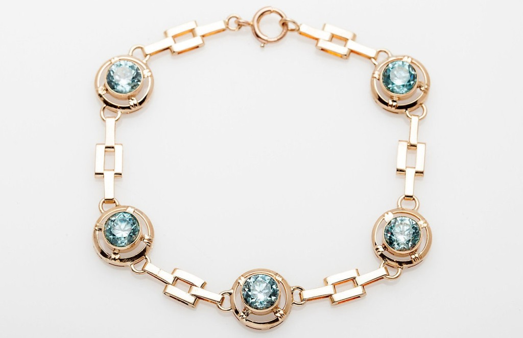 Antique 1930s DECO 6ct Natural Blue Zircon 10k Yellow Rose Gold Bracelet