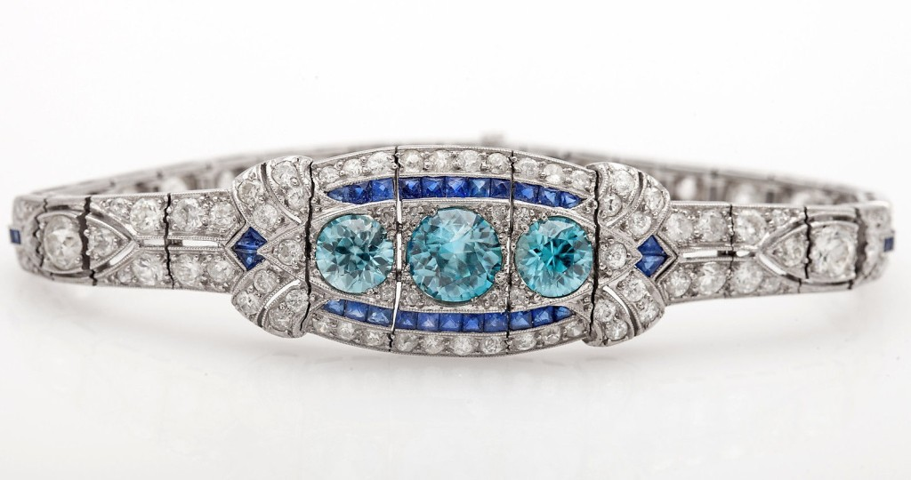 Antique 15ct Old Euro Blue Zircon Sapphire Diamond Platinum Bracelet