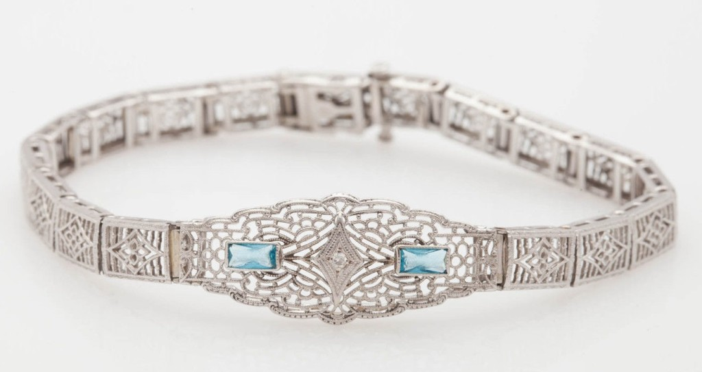 Antique 1920s Aquamarine Diamond 10k White Gold Filigree Bracelet