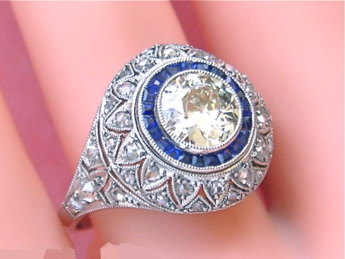 ANTIQUE ART DECO 1.25ct OLD MINE DIAMOND .50ctw SAPPHIRE HALO COCKTAIL RING 1930