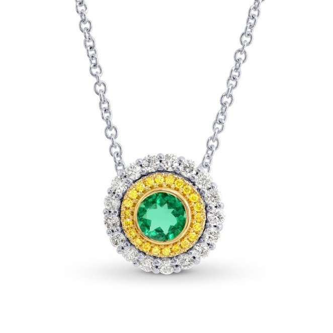 0.6Cts Emerald Gemstone Necklace Set in 18K White Yellow Gold