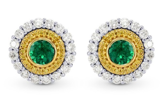 1.03Cts Emerald Gemstone Earrings Set in 18K White Yellow Gold
