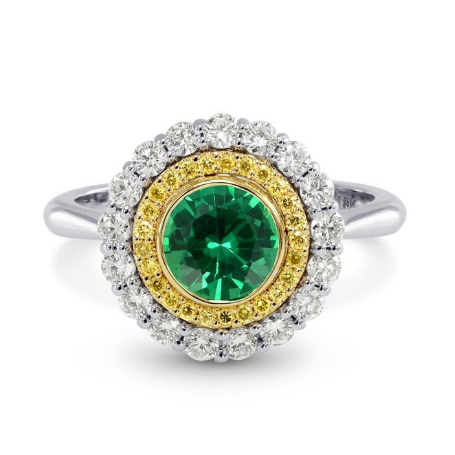1.11Cts Emerald Gemstone Side Diamonds Halo Ring Set in 18K White Yellow Gold