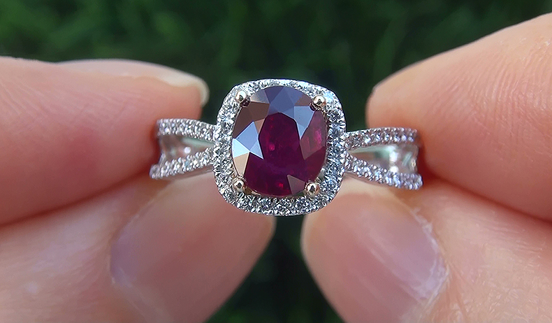 HGT 1.73 ct UNHEATED Natural VS Red Ruby Diamond 14k White Gold Cocktail Ring PRIME Quality Pigeon Blood Red Color