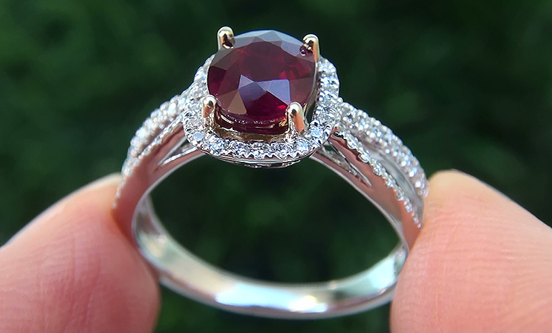 HGT 1.73 ct UNHEATED Natural VS Red Ruby Diamond 14k White Gold Cocktail Ring
