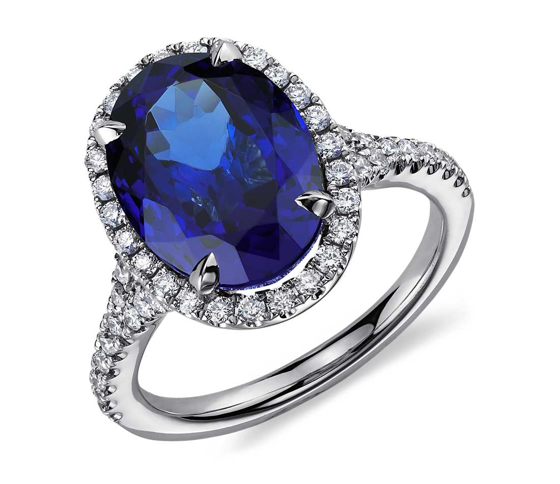 tanzanite colored untreated s ring peacock and carats cut diamond jewelry estate cushion gemstones m image