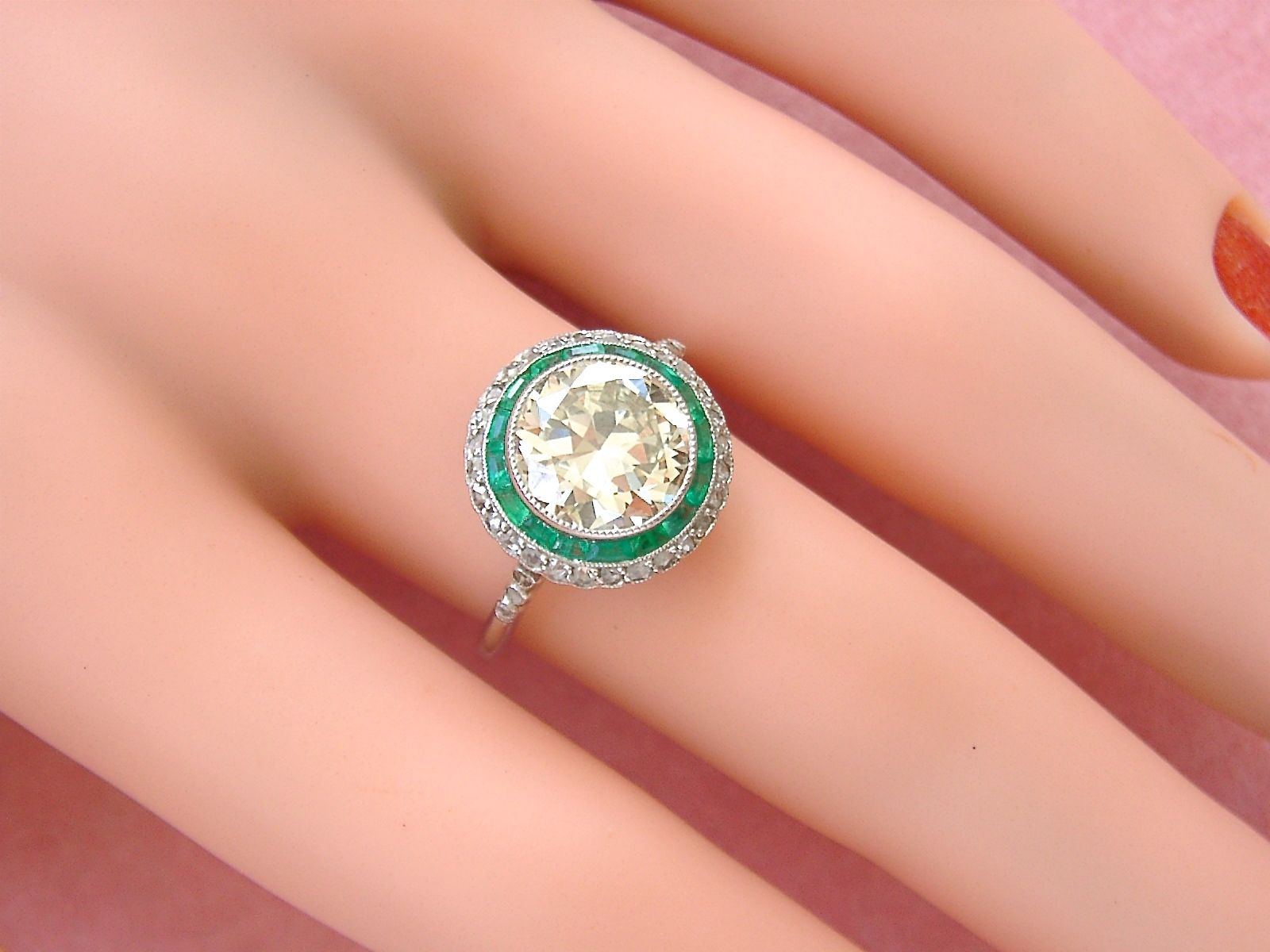 ART DECO 2.59ct EUROPEAN YELLOW DIAMOND EMERALD HALO COCKTAIL ENGAGEMENT RING
