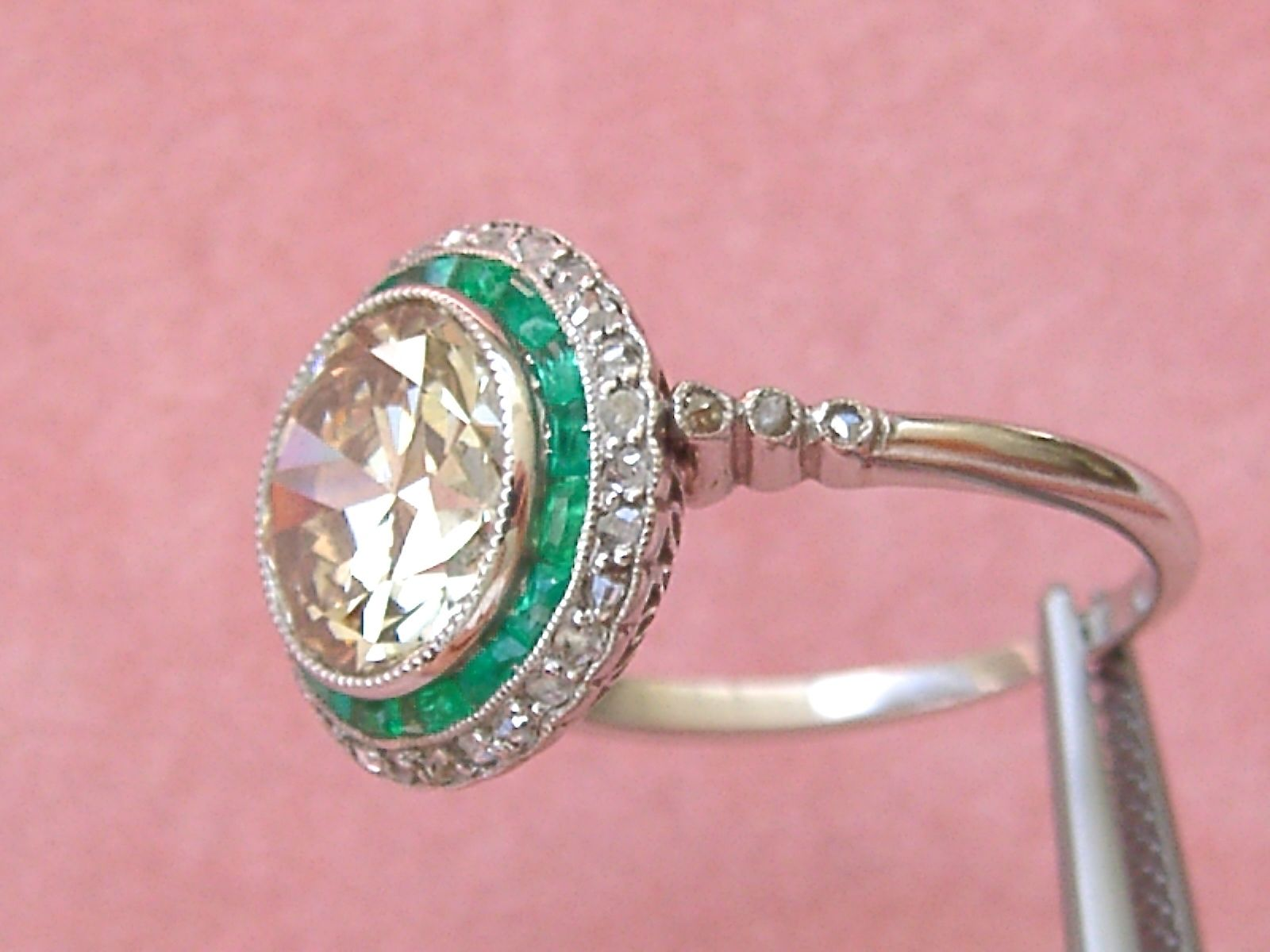 Gorgeous Art Deco 2.59 Ct European Cut Yellow Diamond Emerald Halo ...