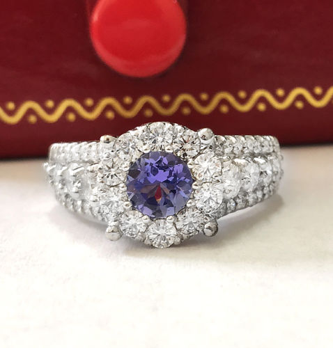 2.36CTW Natural Blue Tanzanite and DIAMOND in 14K Solid White Gold Women Ring