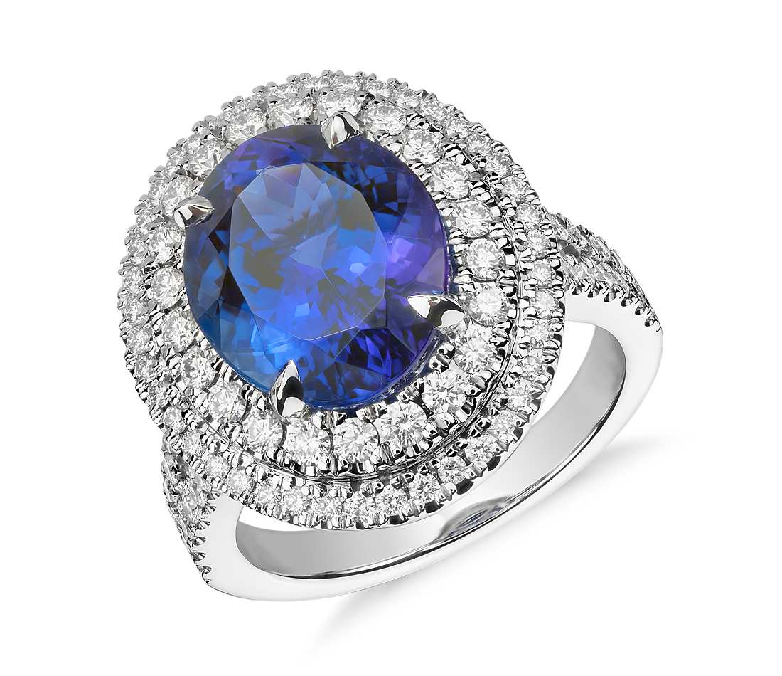 Oval Tanzanite and Diamond Double Halo Ring