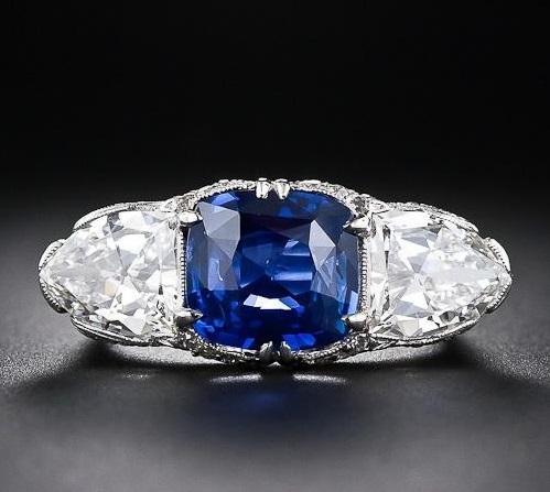 Magnificent 4.10 Carat Sapphire and Diamond Early-Art Deco Ring
