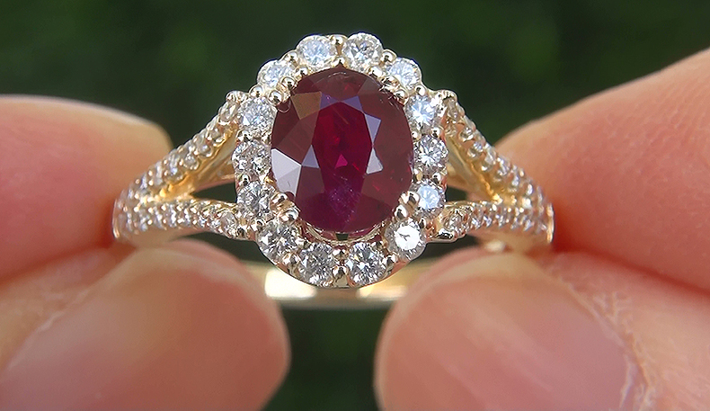 Natural VS Red Ruby Diamond 14k Yellow Gold Cocktail Ring