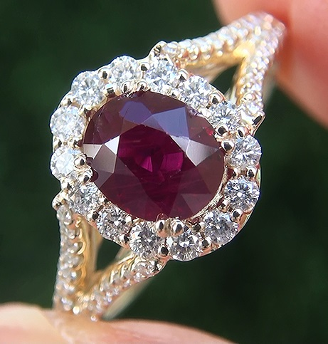 1.84 ct UNHEATED Natural VS Red Ruby Diamond 14k Yellow Gold Cocktail Ring
