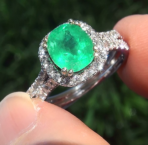 Estate 2.84 ct Natural Colombian Emerald Diamond 14k Gold Cocktail Estate Ring EXOTIC Vivid Green Color - AA+ Quality Gem