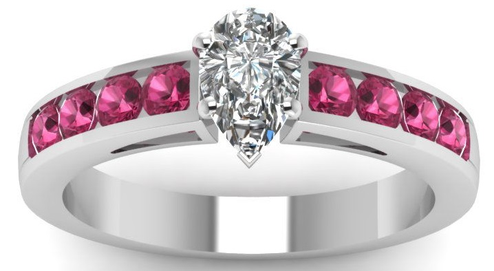 Teardrop Diamond And Pink Sapphire Channel Set Engagement Rings GIA