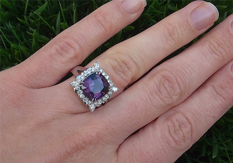 GIA Certified 6.70 ct VVS Purple Spinel Diamond PLATINUM Cocktail Estate Ring