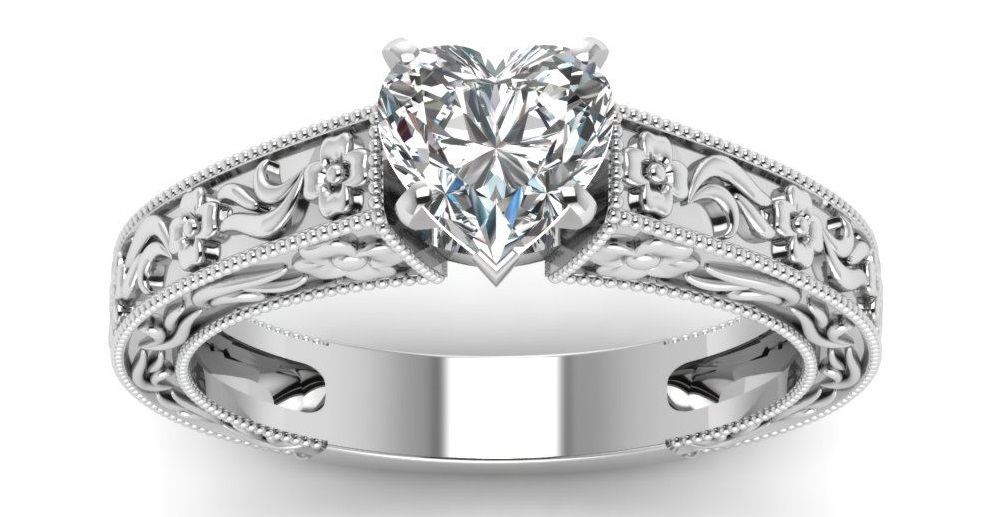 1/2 Carat Heart Shaped Diamond Solitaire Engagement Ring 14K SI1 GIA