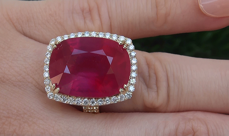 Certified 25.44 ct Natural Red Ruby Diamond 14k Yellow Gold Estate Cocktail Ring