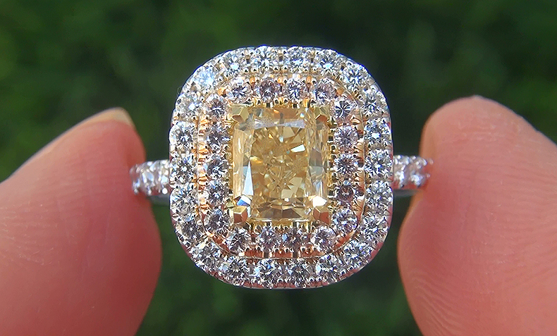 EGL Certified 2.43 ct SI1 Natural Fancy Yellow & Pink Diamond Engagement Wedding 18k Ring