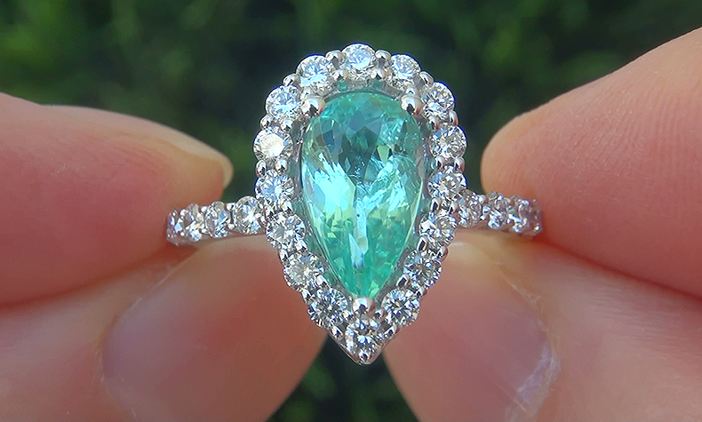 GIA Certified 2.36 ct VVS Natural Paraiba Tourmaline Diamond 14k White Gold Ring