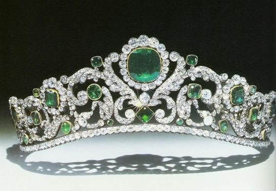 The Angouleme Emerald Tiara worn by Marie Antoinette and made by Evrard and Frederic Bapst for the French crown jewels in 1820. There are 1031 diamonds and 40 emeralds in the setting. When sold in 1887, an observer remarked that anyone who had not seen it 'does not know what an emerald is, the green stones alternate with the brilliants in such a manner that there is an interplay of colored light, the effect of which is magical.
