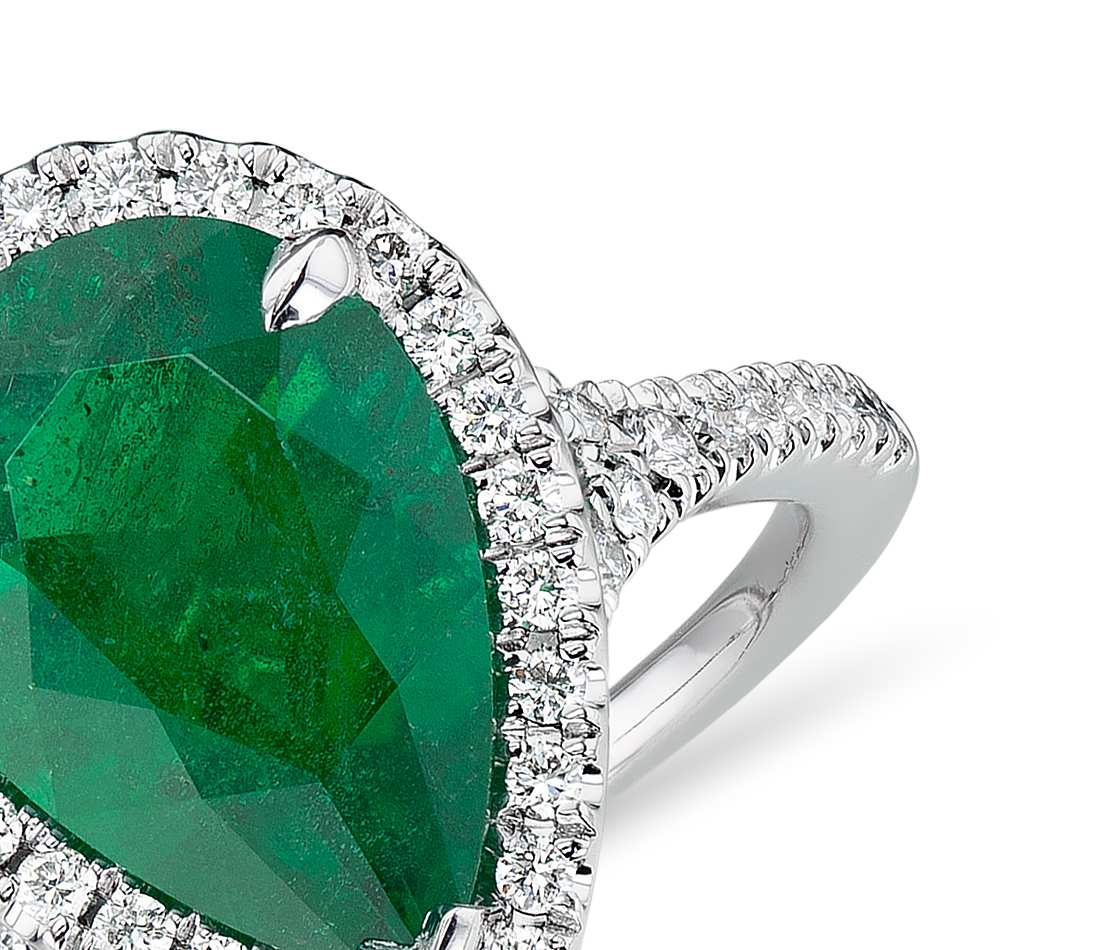 Emerald Pear-Shape and Diamond Halo Cocktail Ring