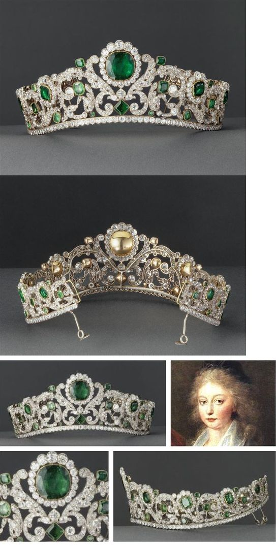 "Diamond and emerald tiara, designed by Jacques-Evrard Bapst for the Duchesse d'Angouleme, early 19th century | Musée du Louvre. ""Under the 2nd Empire, the tiara was worn by the Empress Eugenie, who was particularly fond of emeralds."