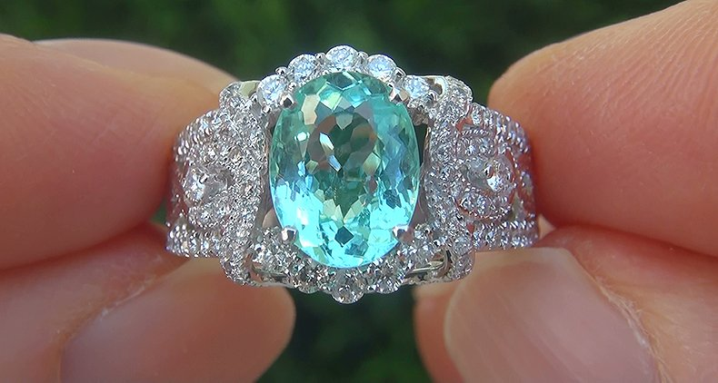 GIA 2.80 ct VVS Natural Paraiba Tourmaline Diamond 14k White Gold Estate Ring