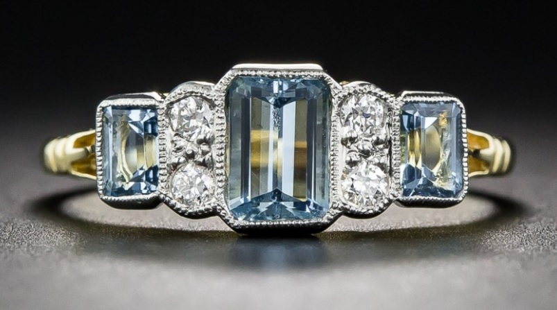 Aquamarine and Diamond Vintage Style Ring