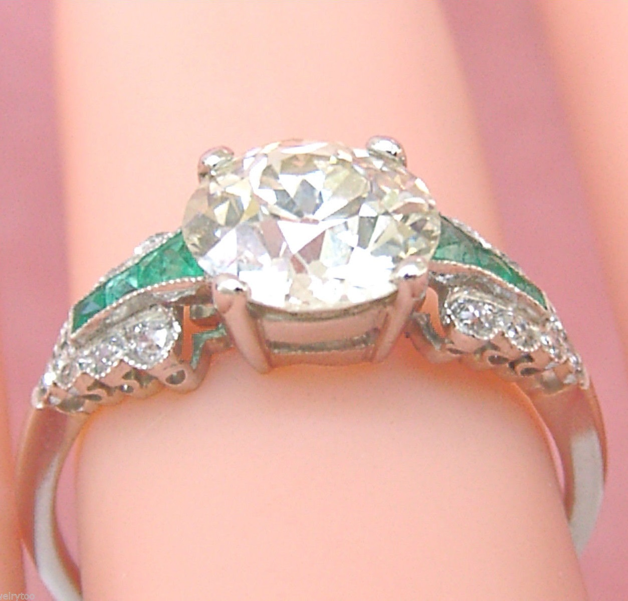Art Deco 1.80 Ct Yellow European Cut Diamond & Emerald Platinum Engagement Ring