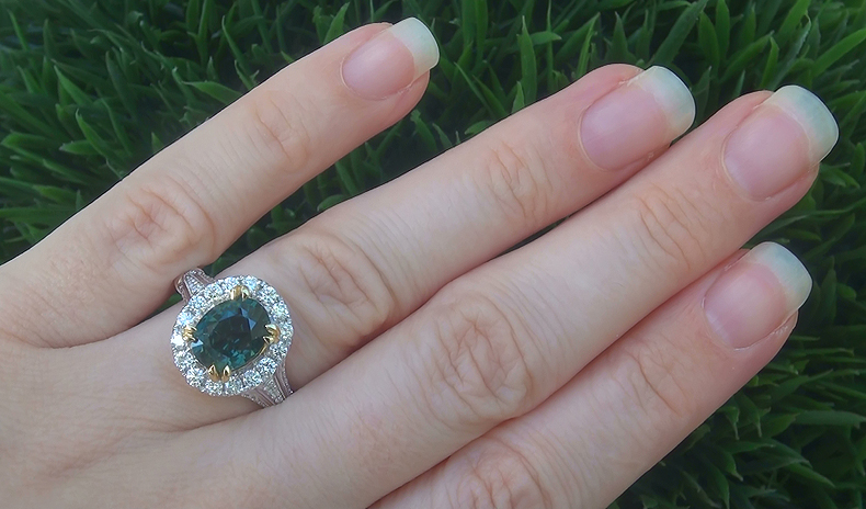 GIA 5.42 ct UNHEATED Natural VVS Green Sapphire Diamond 18k Gold Engagement Ring