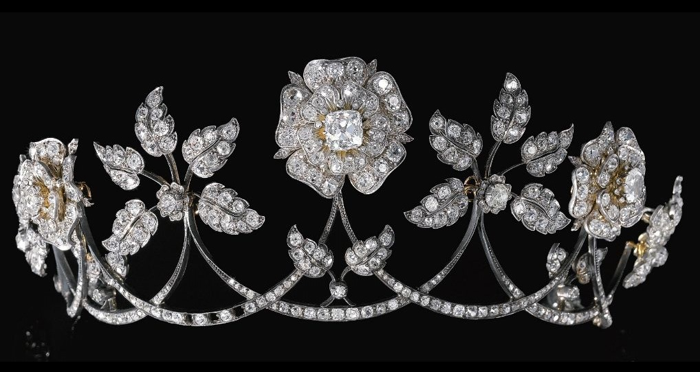An antique diamond tiara, late 19th century.