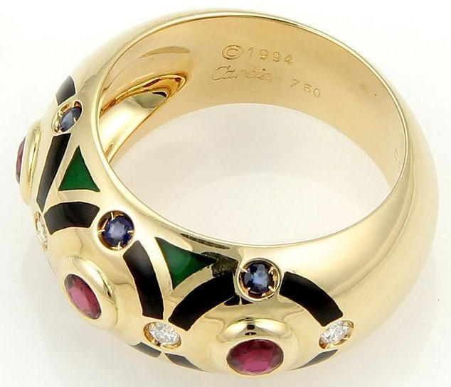 Cartier 18k Yellow Gold Diamond, Emerald, Sapphire & Enamel Dome Band Ring