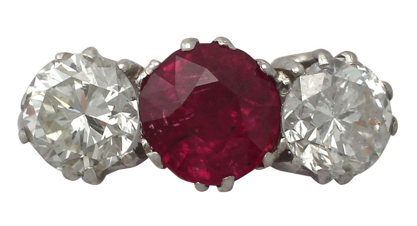 2.21 ct Ruby and 2.06 ct Diamond, Platinum Trilogy Ring - Vintage Circa 1940
