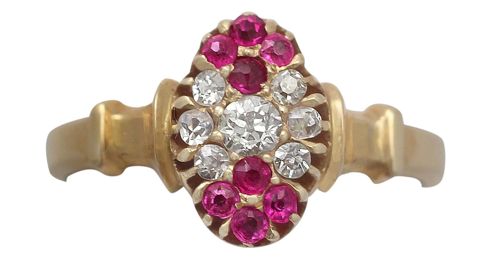 Antique Edwardian, Diamond and Ruby, 18k Yellow Gold Dress Ring - 1905