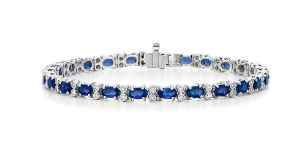 18K WHITE GOLD AZURA SAPPHIRE AND DIAMOND BRACELET (1/2 CT. TW.)