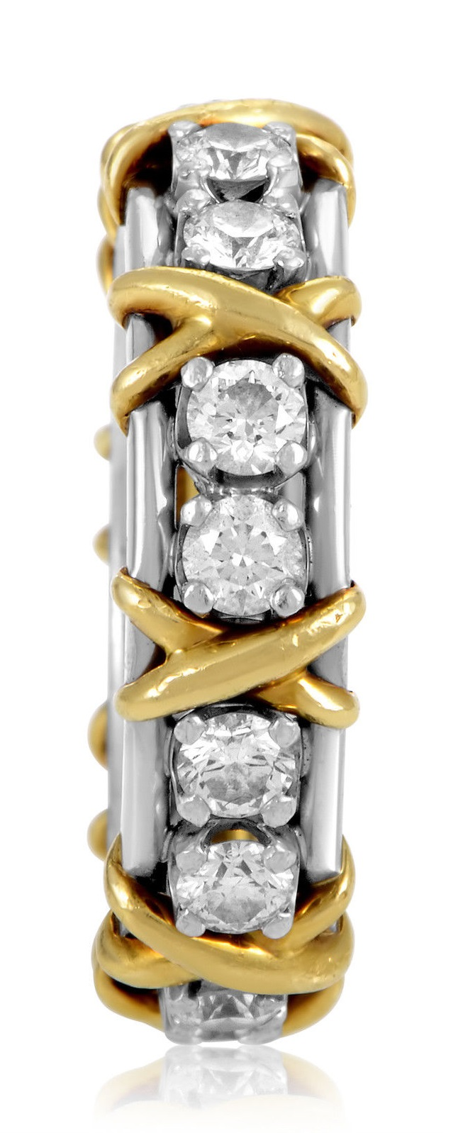 Tiffany & Co. Schlumberger Platinum & 18K Yellow Gold Diamond Eternity Band Ring