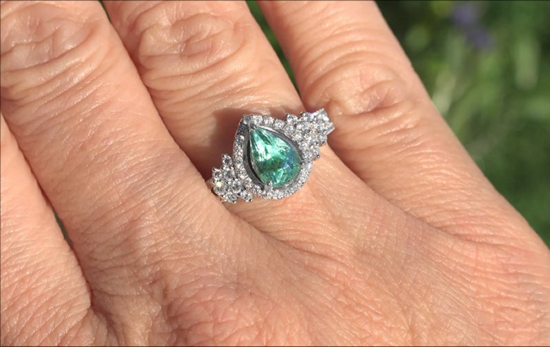 GIA 2.24 ct VVS Natural Paraiba Tourmaline Diamond 14k White Gold Estate Ring