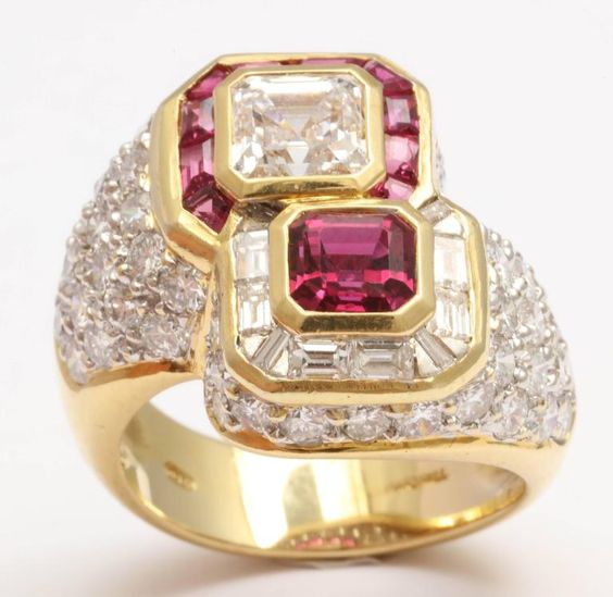 Ruby and Diamond Cross-over Ring $18,500