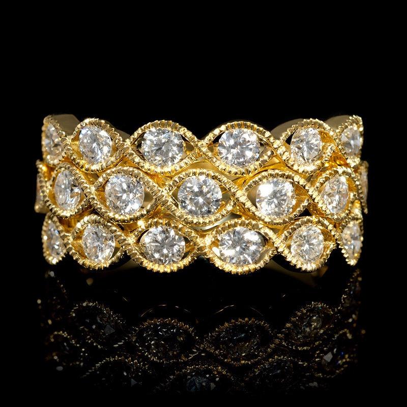 Diamond Antique Style 18k Yellow Gold Ring