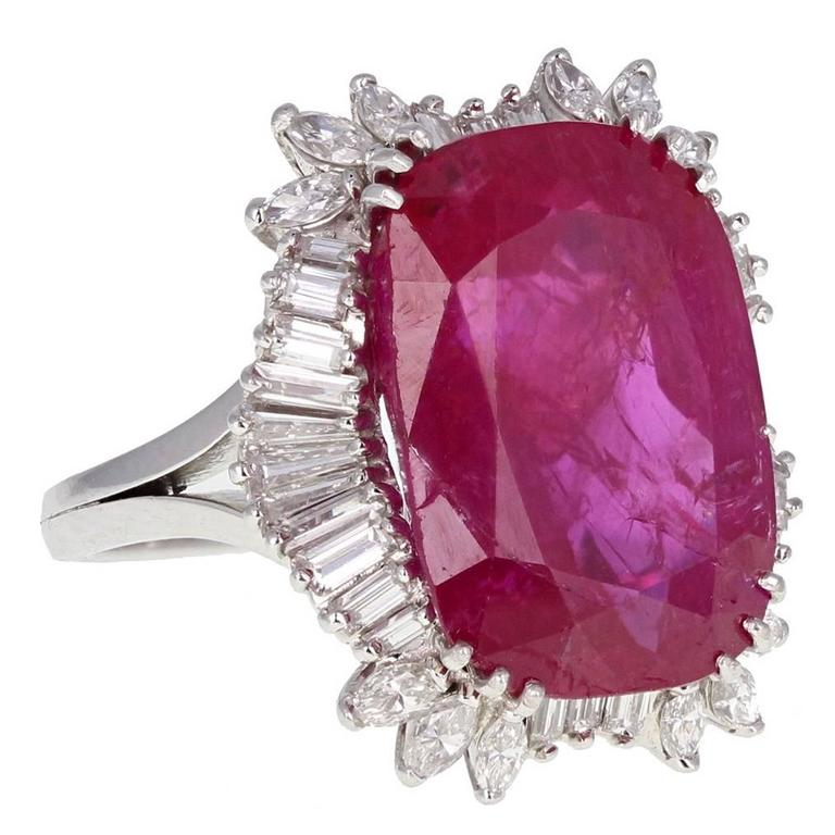 14.50 Carat Burma No Heat Ruby Diamond Cluster Ring
