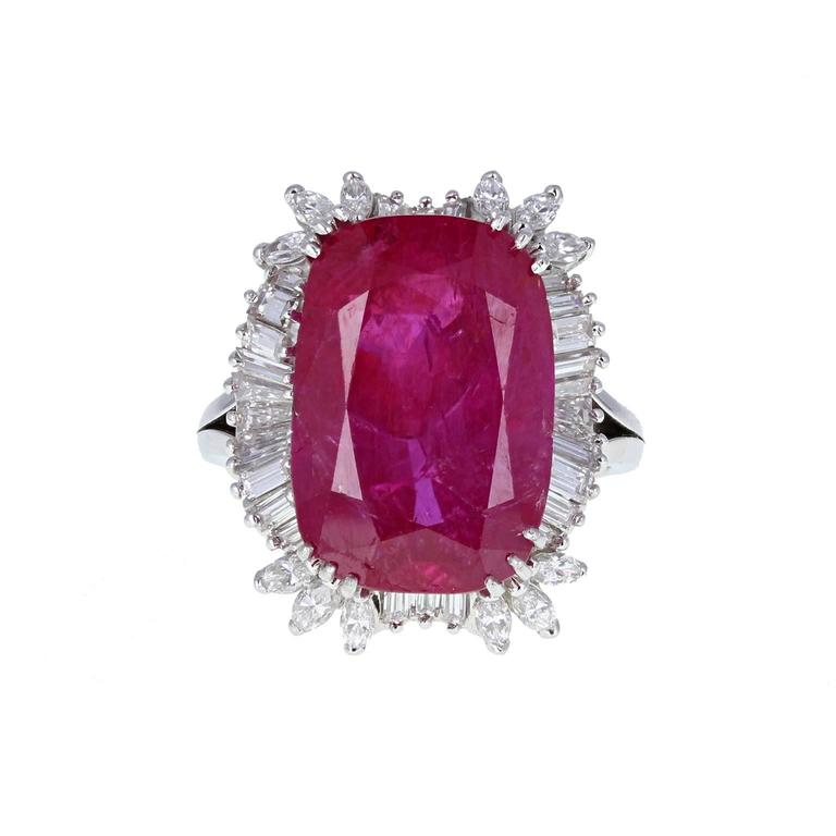 14.50 Carat Burma No Heat Ruby Diamond Cluster Ring $440,557.05