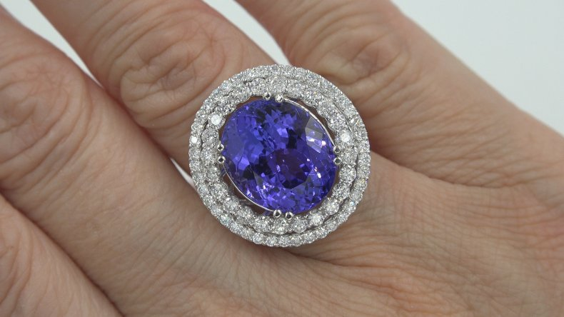 GIA 15.00 ct FLAWLESS Natural Tanzanite Diamond 18k White Gold Estate Ring