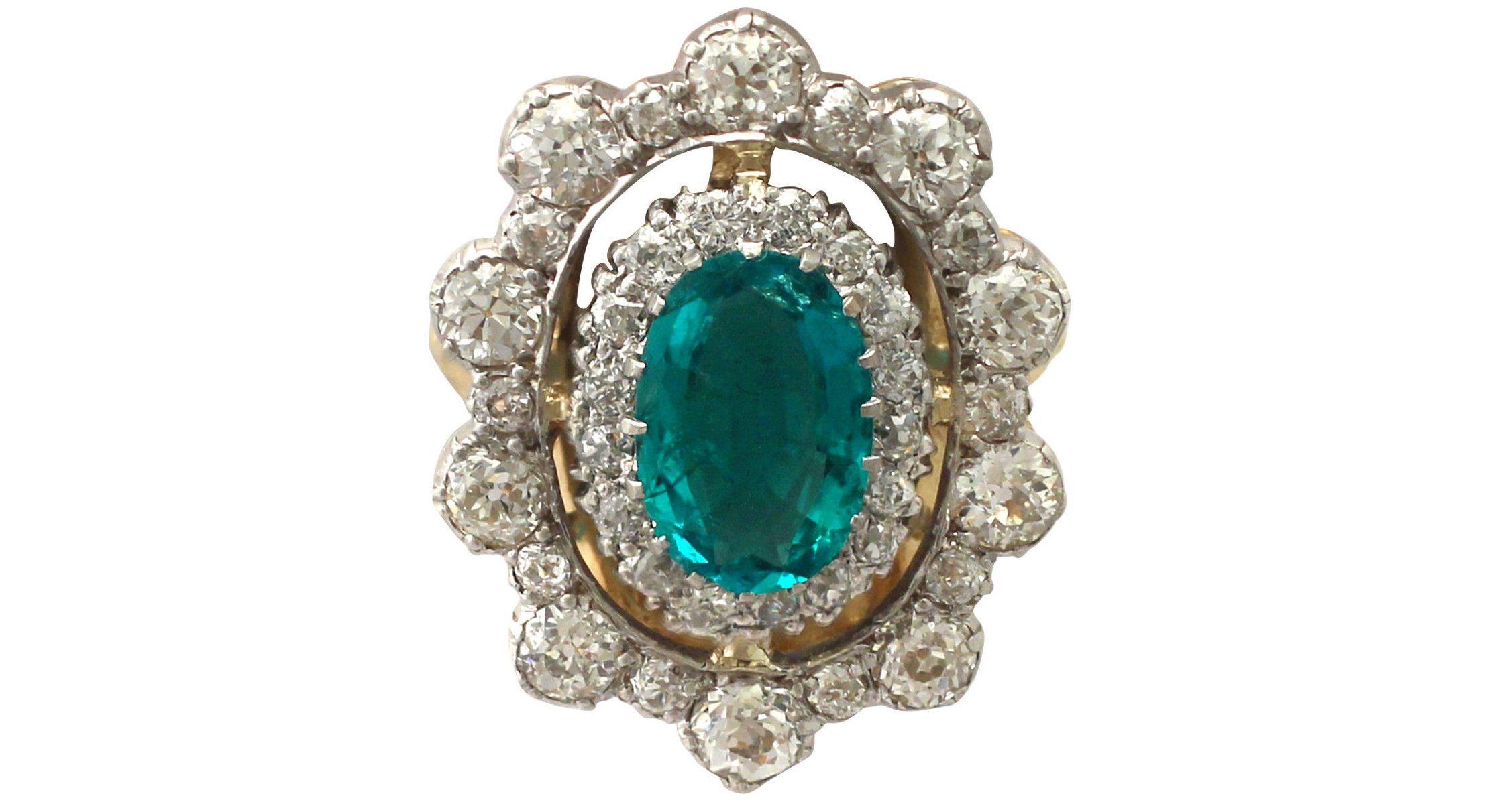 3.12 ct Emerald and 3.15 ct Diamond, 18 ct Yellow Gold Dress Ring - Antique Circa 1930