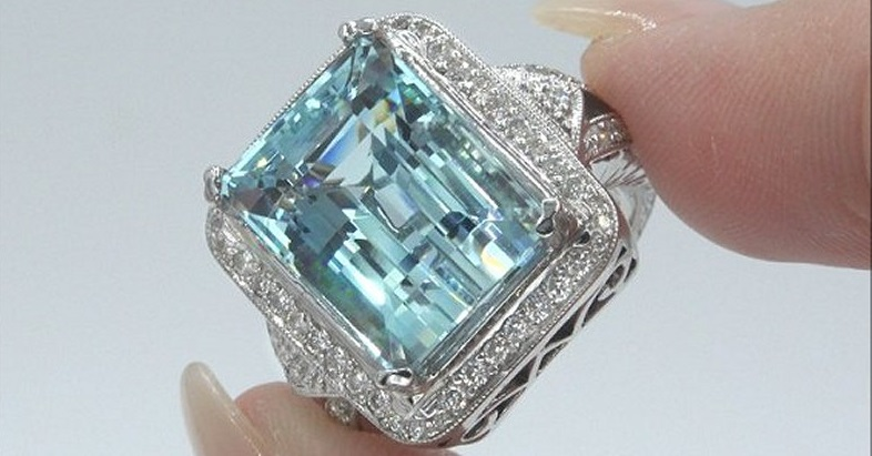 GIA 14.45 ct FLAWLESS Natural Aquamarine Diamond 14k White Gold Estate Ring